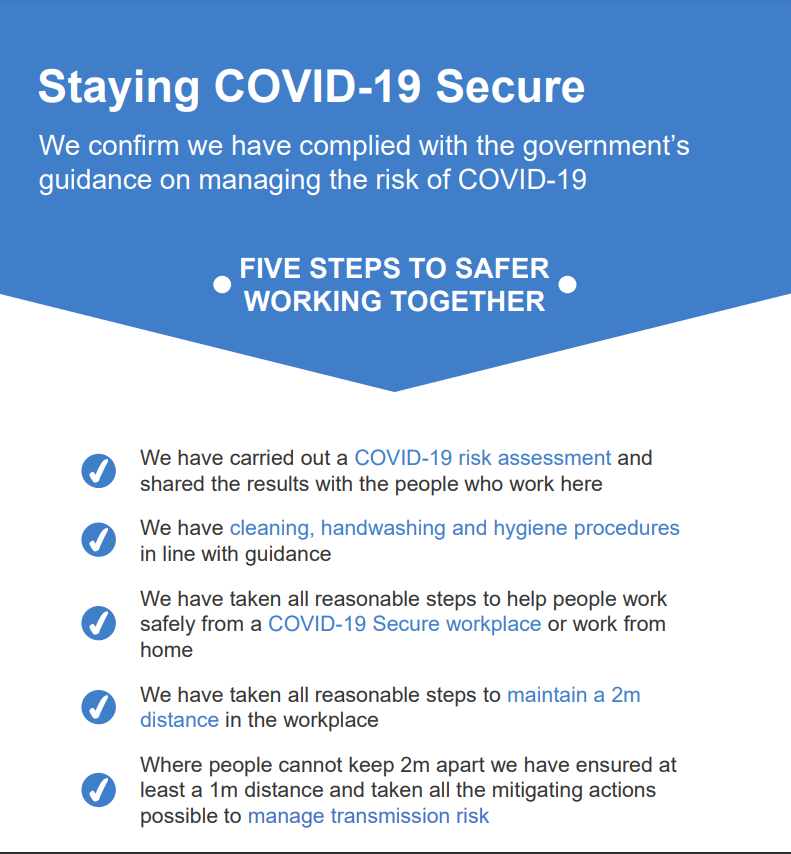 covid-secure guidelines